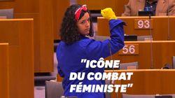Manon Aubry en Rosie la Riveteuse au Parlement