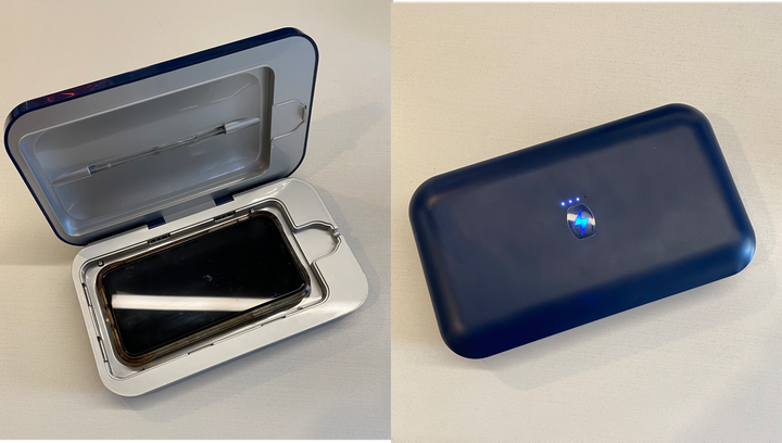 PhoneSoap is like a pint-sized tanning bed for your phone. The product claims to eliminate 99.9% of household germs in less than 10 minutes using UV-C light. Our editor tried it out for herself.