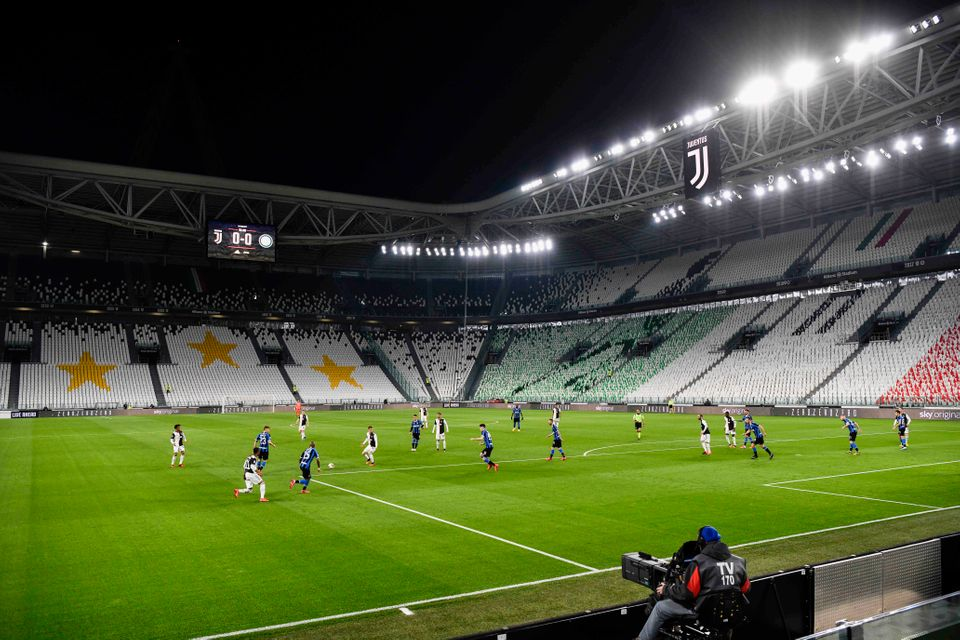 Empty seats in theAllianz Stadium in Turin during Juventus vs Inter Milan, which was played without...