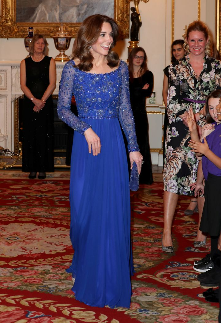 The Duchess of Cambridge is pictured as she hosts a gala dinner in celebration of the 25th anniversary of Place2Be at Bucking