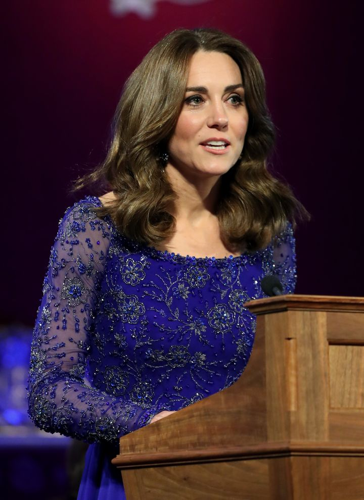 Kate makes a speech as she hosts the gala dinner.
