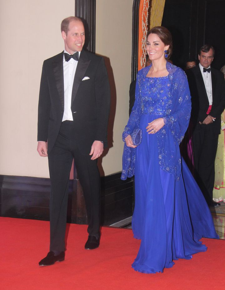The Duke and Duchess of Cambridge pictured during a Bollywood-inspired charity gala dinner at Taj Palace Hotel in April 2016