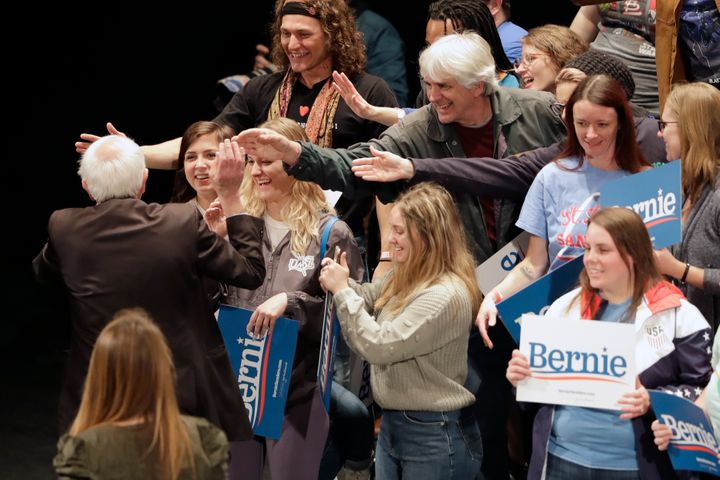 Sanders didn't hesitate to greet supporters as he left the stage after a recent speech in St. Louis.
