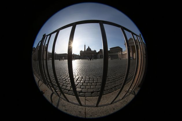 ROME, ITALY - MARCH 10: (EDITORS NOTE: A fisheye lens was used to create this image.) A view of an empty...