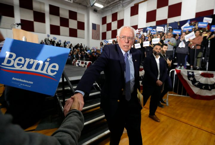 The coronavirus outbreak notwithstanding, Sanders shook hands with a supporter after a campaign rally in Dearborn, Michigan,