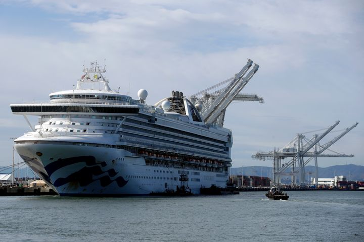 The Grand Princess cruise ship is shown docked at the Port of Oakland in Oakland, Calif., Tuesday, March 10, 2020.