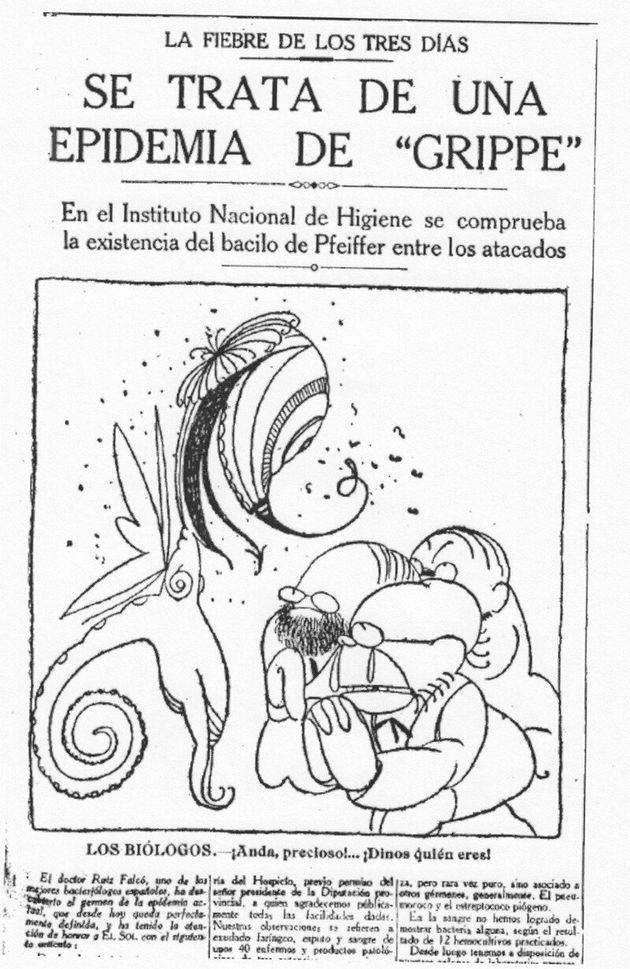 Biólogos españoles, ante el microbio de la gripe española, en una noticia de