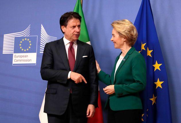 European Commission President Ursula von der Leyen, right, greets Italian Prime Minister Giuseppe Conte...