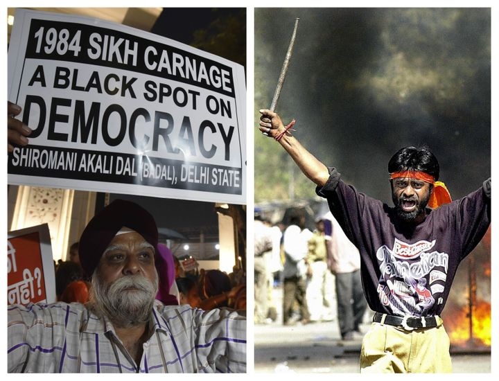 (Left) A protestor stands in a demonstration in November 2019 marking anniversary of the anti-Sikh carnage witnessed across India in 1984. (Right) A rioter believed to be a Bajrang Dal member commits arson on the street of Ahmedabad in February 2002. Both incidents of communal violence remain unresolved legally and politically with justice eluding victims every passing year, even as fears of India becoming a majoritarian republic mount.