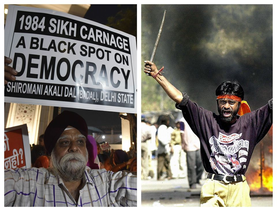 (Left) A protestor stands in a demonstration in November 2019 marking anniversary of the anti-Sikh carnage...