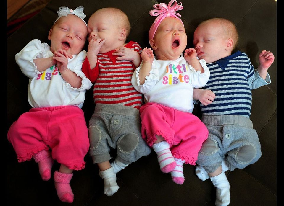 Miranda and Josh Crawford's quadruplets, two sets of identical twins, were born six weeks early, on Feb. 4, 2011 in Charlotte