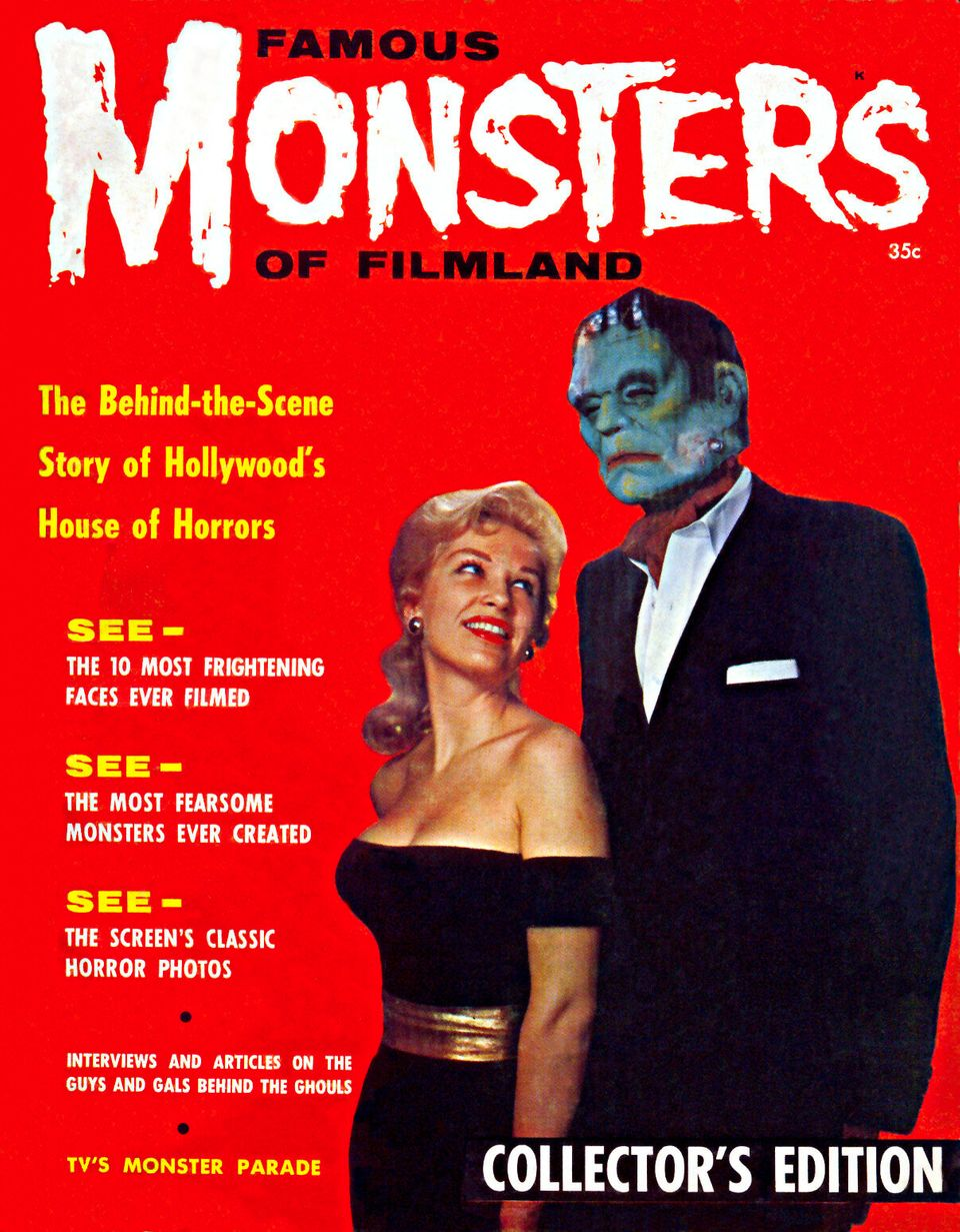 This is the cover of the premiere issue of Famous Monsters of Filmland from 1958, which was co-founded by Forrest J Ackerman.