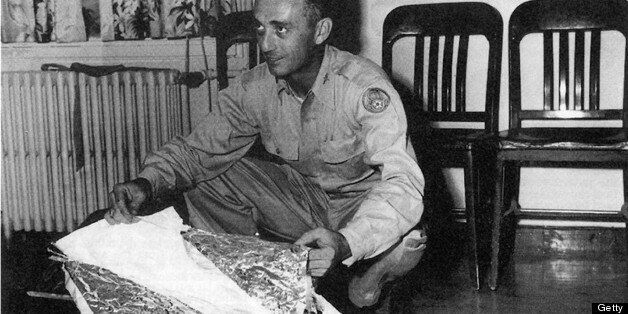 DENVER - UNDATED: Major Jesse Marcel from the Roswell Army Air Field with debris found 75 miles north west of Roswell, NM, in