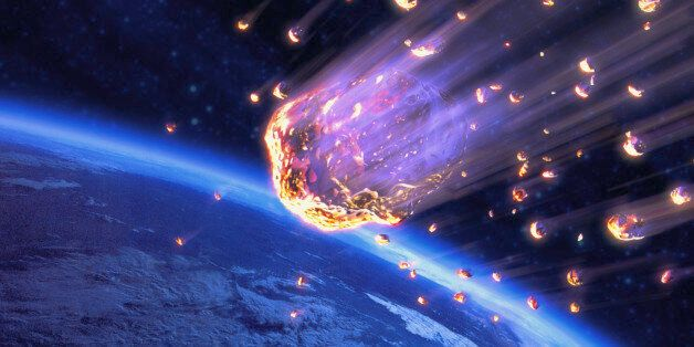 Meteor shower speeding toward Earth (digital composite)