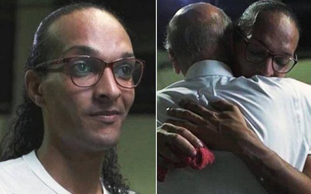 Suzy Oliveira (à esq.) e cena em que Drauzio Varella abraça a detenta (à