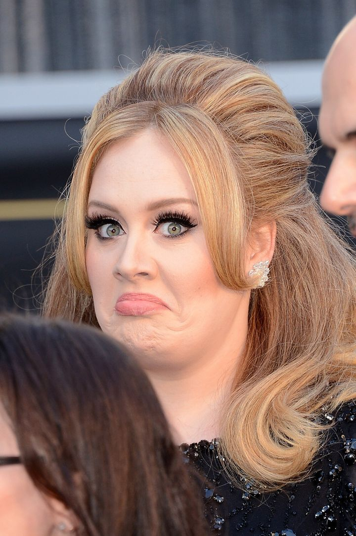 HOLLYWOOD, CA - FEBRUARY 24:  Singer Adele Adkins arrives at the Oscars at Hollywood & Highland Center on February 24, 2013 i