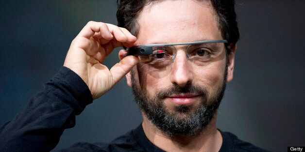 Sergey Brin, co-founder of Google Inc., wears Project Glass internet glasses while speaking at the Google I/O conference in S
