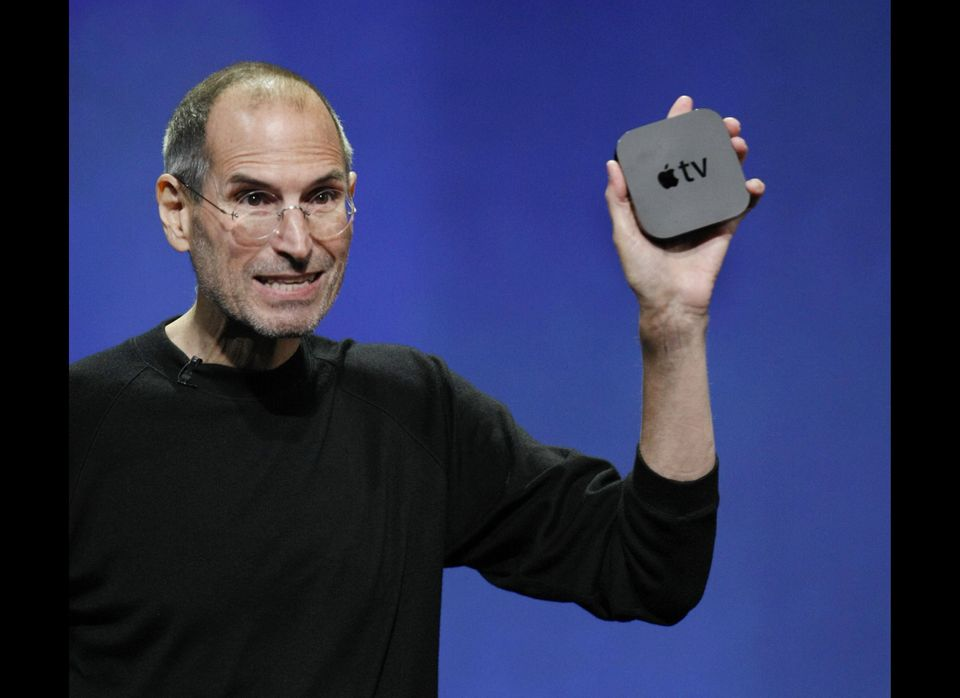 Apple CEO Steve Jobs displays the new AppleTV at news conference in San Francisco, Wednesday, Sept. 1, 2010. (AP Photo/Paul S