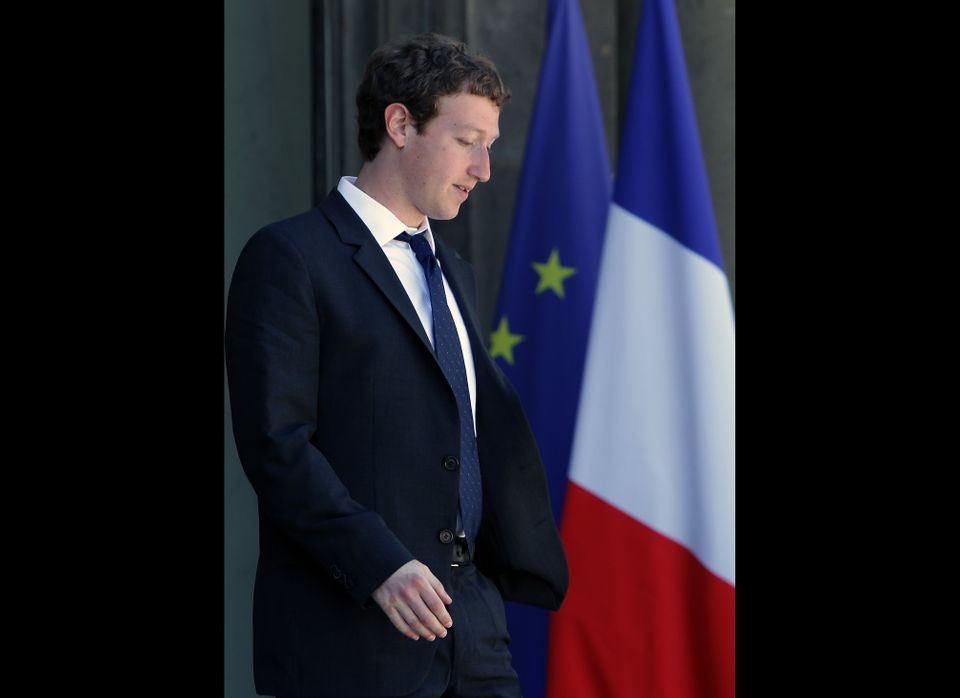 Founder and Chief Executive Officer of Facebook Mark Zuckerberg is seen as he leaves the Elysee Palace, in Paris, Wednesday,
