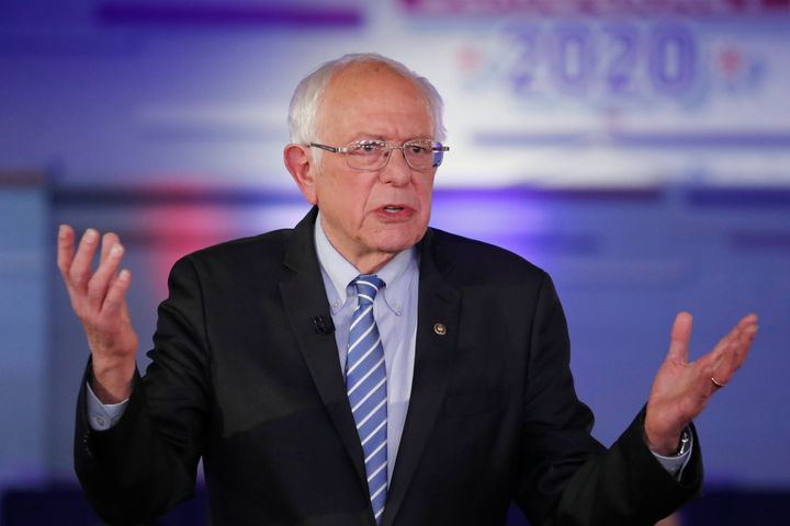 Democratic presidential candidate Bernie Sanders takes part in a Fox News Town Hall with co-moderators Bret Baier and Martha