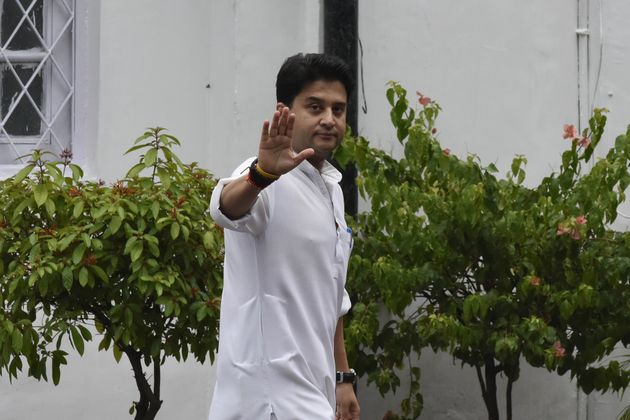 Jyotiraditya Scindia arrives to attend Congress Working Committee (CWC) meeting on August 10, 2019 in...