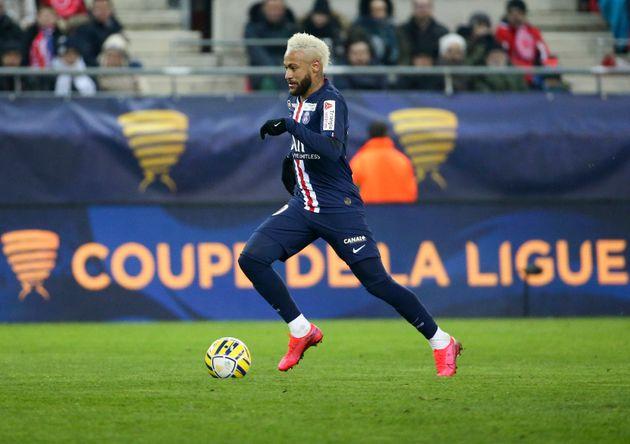 Neymar au stade Auguste Delaune de Reims le 22 janvier 2020, lors de la demi-finale de la Coupe de la
