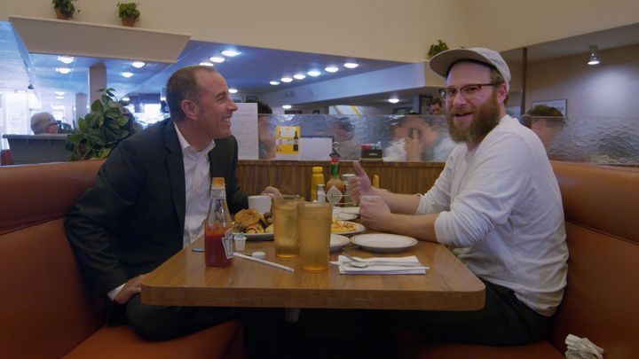 "Jerry Seinfeld and Seth Rogen in ""Comedians in Cars Getting Coffee."""