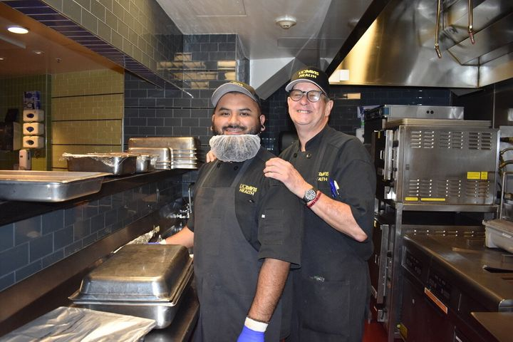 Two members of the UC Davis Health food team who have worked with Diaz to help make healthier hospital meals.