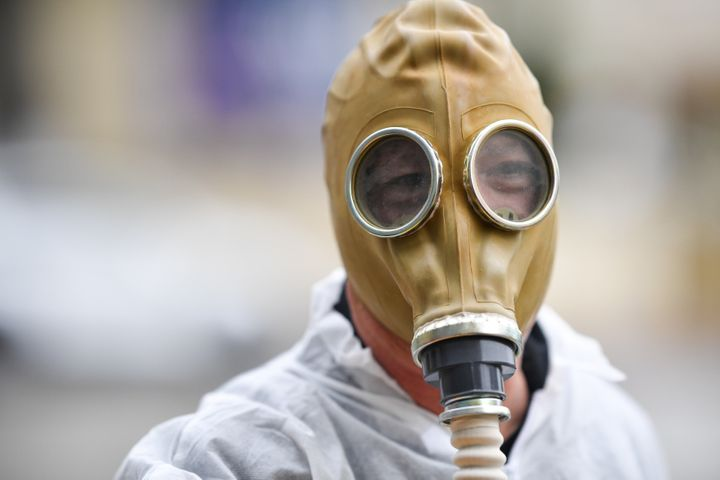 Howie Mandel wears a gas mask costume on March 10 in Los Angeles.
