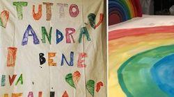 Un lenzuolo con un arcobaleno e la scritta