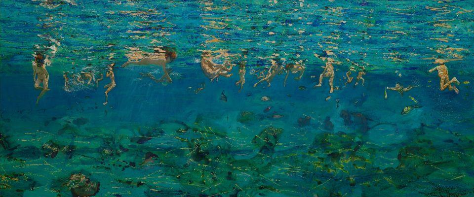 «Κολυμβητές κάτω από το νερό», 2004, λάδι σε μουσαμά, 80Χ195