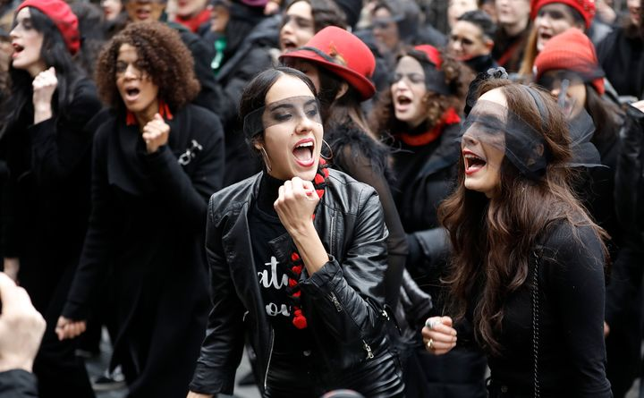 Women inspired by the Chilean feminist group called Las Tesis protest in front of the New York City criminal court during Harvey Weinstein's sex crimes trial in January.