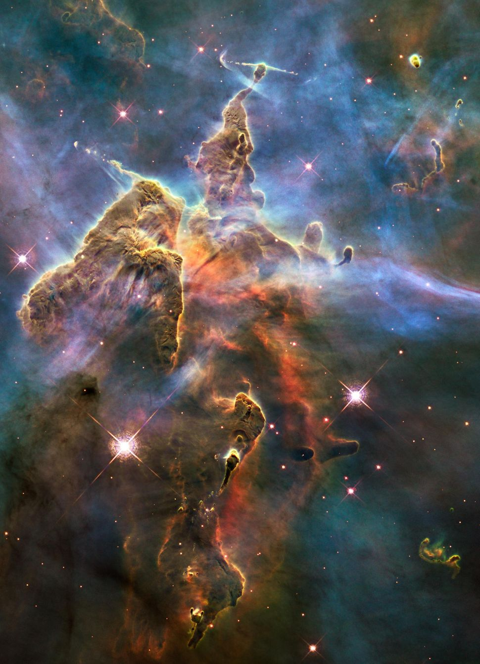 2010: Pillar and Jets in Carina  Credit: NASA, ESA, and M. Livio and the Hubble 20th Anniversary Team (STScI) <br> <br> (Read