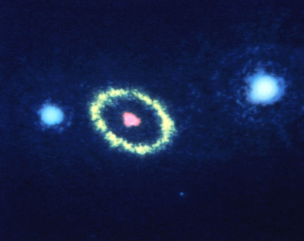 """1990: Supernova 1987A (SN 1987a)  Credit: NASA, ESA, and STScI <br> <br> (Read about the image <a href=""""http://www.hubblesite"""