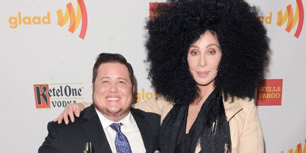 LOS ANGELES, CA - APRIL 21:  Chaz Bono and Cher backstage at the 23rd Annual GLAAD Media Awards presented by Ketel One and We