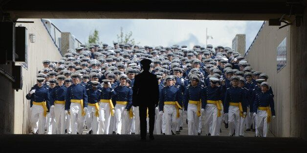 DENVER, CO. - MAY 29: Cadets arrive for the Graduating Class March-on at the start of the United States Air Force Academy gra