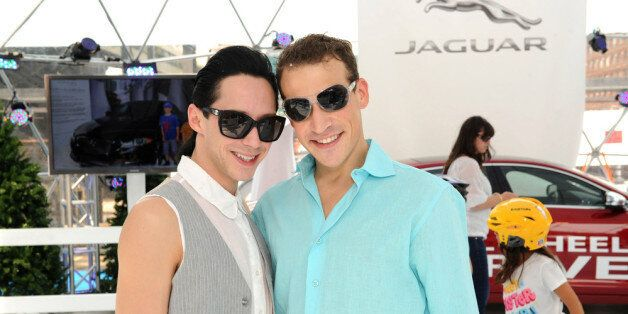 NEW YORK, NY - AUGUST 17:  Two time Olympian and World Bronze medalist figure skater Johnny Weir and husband Victor Voronov a