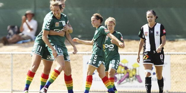 CANBERRA, AUSTRALIA - FEBRUARY 01:  Sally Shipard of Canberra United is congratulated by team mates after scoring a goal duri