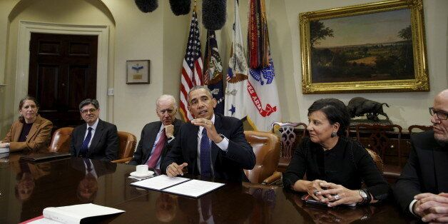 U.S. President Barack Obama holds a meeting with his economic team at the White House in Washington March 4, 2016. From left