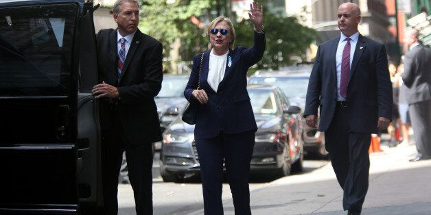 MANHATTAN, NY - SEPTEMBER 11: U.S. Presidential Candidate Hillary Clinton exits her daughter Chelsea Clinton's apartment at 2