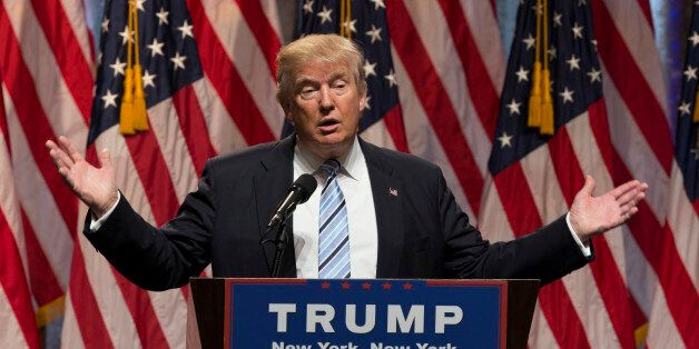 New York, NY USA - July 16, 2016: Donald Trump speaks during introduction Governor Mike Pence as running for vice president a