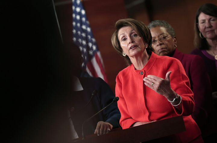 WASHINGTON, DC - JANUARY 23:  House Minority Leader Rep. Nancy Pelosi (D-CA) speaks about the re-introduction of the Violence