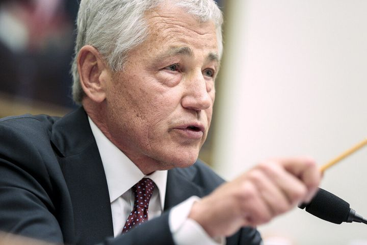 WASHINGTON, DC - APRIL 11: Defense Secretary Chuck Hagel testifies before the House Armed Services Committee on the Defense D