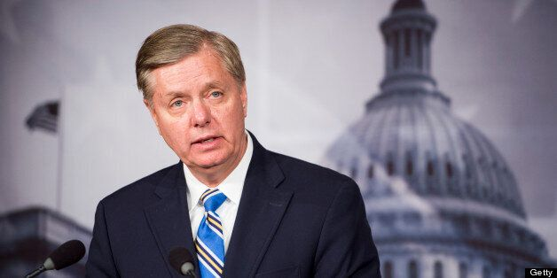 UNITED STATES - APRIL 22: Sen. Lindsey Graham, R-S.C., holds a news conference on Monday, April 22, 2013, to discuss the Bost
