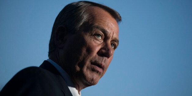 House Speaker John Boehner, a Republican from Ohio, speaks to the media after a meeting with U.S. President Barack Obama at t
