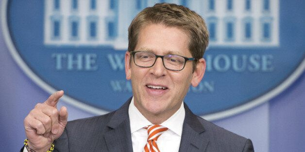 WASHINGTON, DC - DECEMBER 12:  White House Press Secretary Jay Carney conducts his daily press briefing in the Brady Press Br