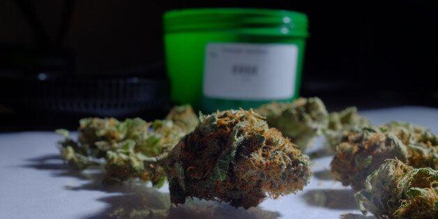 Marijuana (cannabis) is arranged for a photograph inside the Evergreen Apothecary in Denver, Colorado, U.S., on Thursday, Jan