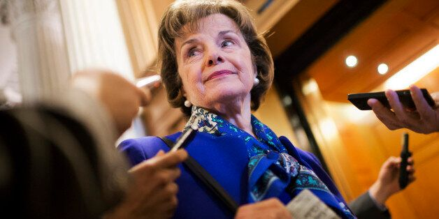 UNITED STATES - MARCH 11: Sen. Dianne Feinstein, D-Calif., chairman of the Senate Intelligence Committee, speaks with reporte