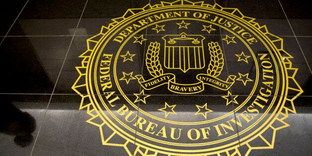 The seal of the Federal Bureau of Investigation is seen on the floor at the FBI's Washington field office in Washington, D.C.