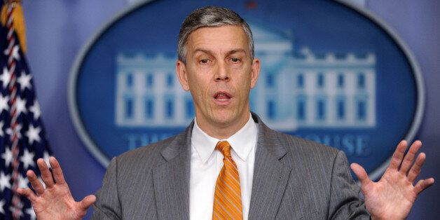 WASHINGTON, DC - APRIL 20:  (AFP OUT) U.S. Secretary of Education Arne Duncan speaks at the press briefing of the White House